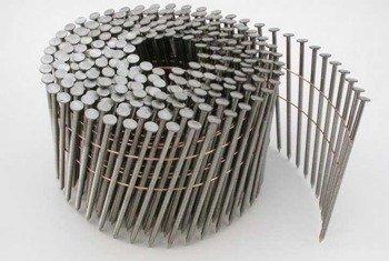 Gwoździe bębnowe na drucie 2,1 kąt 16° ryflowane galwanizowane długość 45mm